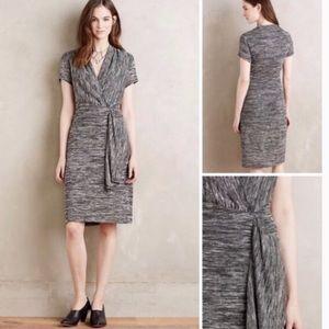 Anthropologie Maeve Gray Wrap Sweater Dress sz S